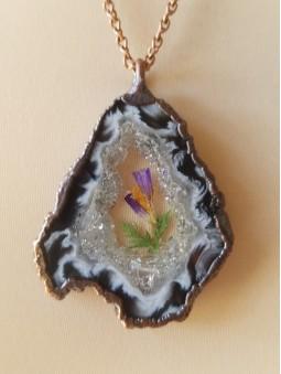 Crystal Garnet Circle Necklace